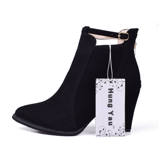 48819d4eb9778 Hung Yau Women Boots High Heels Ankle Boots Fashion 2018 Autumn Chunky Heel  Ladies Short Boots