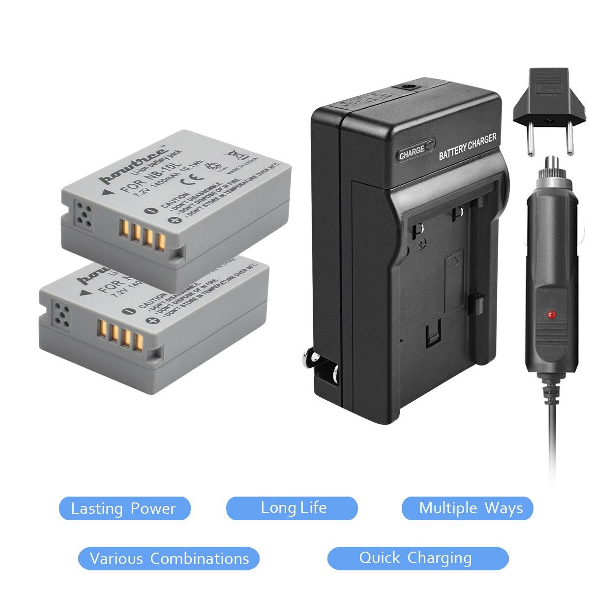 2Pcs NB 10L NB 10L NB10L Battery+Charger kit for Canon PowerShot G15 G16 G1X G3X SX40 SX40HS SX50 SX60 HS Camera L20