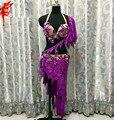 Новый танец живота Производительность одежда одежда фиолетовый кристалл bra top и короткие юбки 2 шт. девушки танцуют костюм леди латинский танец костюм