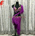 New belly dance clothes Performance clothing purple crystal bra top and short skirt 2pcs girls dance suit lady latin dance suit