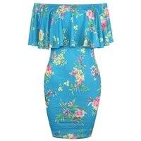 Off Shoulder Ruffle Peplum Frill Mini Dress Slash Neck Short Sleeve Floral Printed Bodycon Dress 2018 Ladies Summer Dresses Robe