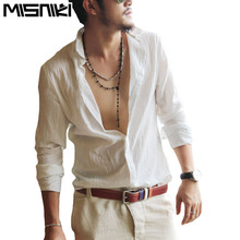 MISNIKI Spring Summer Hot Thin Lightweight Hawaiian Shirt Men Cool Solid