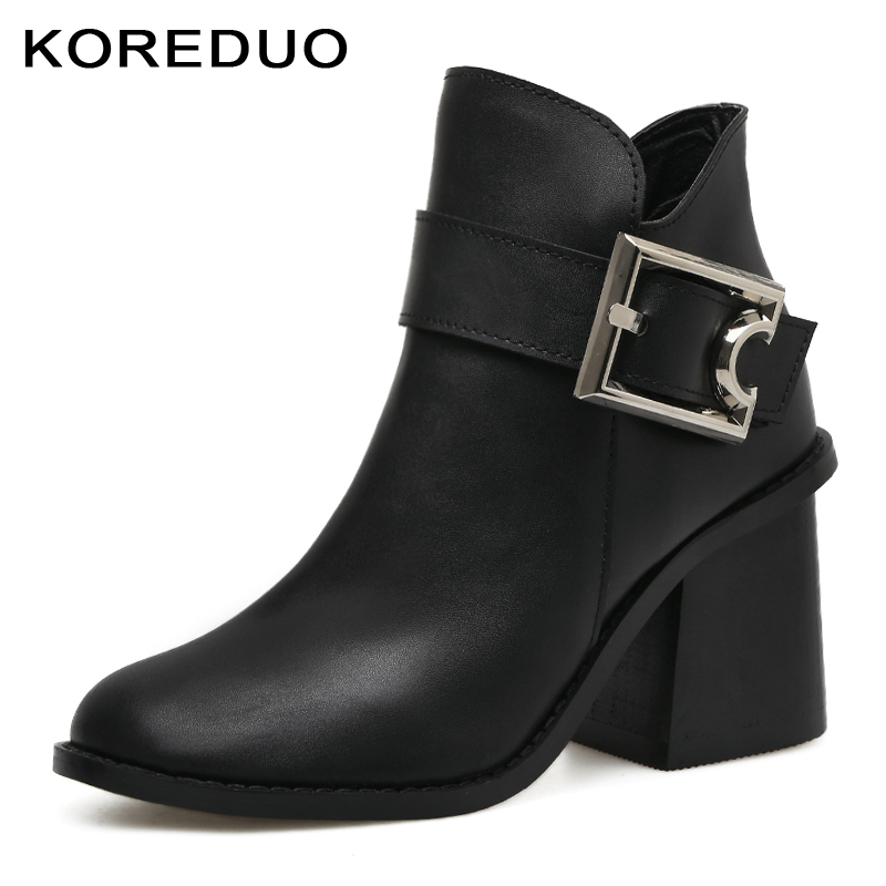 KOREDUO Spring Autum Women Buckle Ankle Women Boots Black High Square Heel Martin Boots Zipper Combat Motorcycle Boots Shoes mw 2016 new winter women black high heel martin ankle boots buckle gothic punk motorcycle combat boots shoes platform free shipping