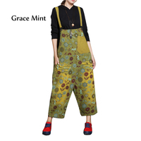 Striped Floral Printing Jumpsuits Plus Size Loose Cotton Drop Crotch Rompers Jumpsuits
