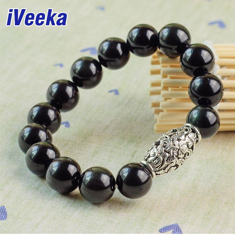 Veeka brand jewelry natural black obsidian bracelet for men gemstone jewelry pulseira masculina bijoux strand bracelets