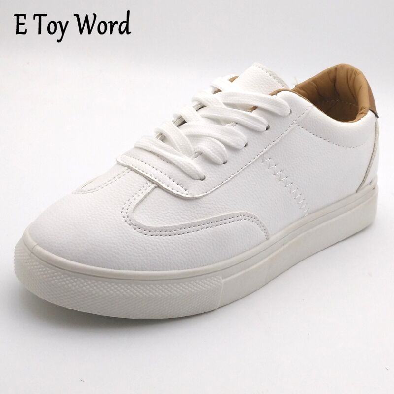E TOY WORD Spring Summer New Shoes Women Flats Soft Leather Fashion Women's Casual Brand White Shoes Breathable Comfortable  fashion womens casual shoes 2017 spring summer breathable women canvas shoes brand soft thick sole classic black white th085