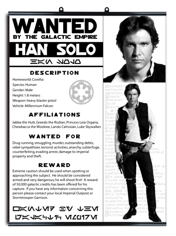Han Solo Wanted Outlaw Star Wars Criminal Art Huge Print Poster – Wanted Criminal Poster