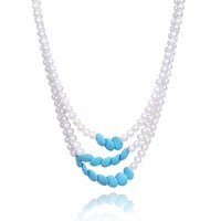 Potato Shape Real Pearl And Blue Stone Jewelry Women Wedding Necklace Three Layers For Mother Gifts