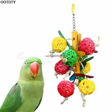 Colorful Funny Pet Birds Parrot Parakeet Cockatiel Chew Ball Cage Toy With Bell(China)