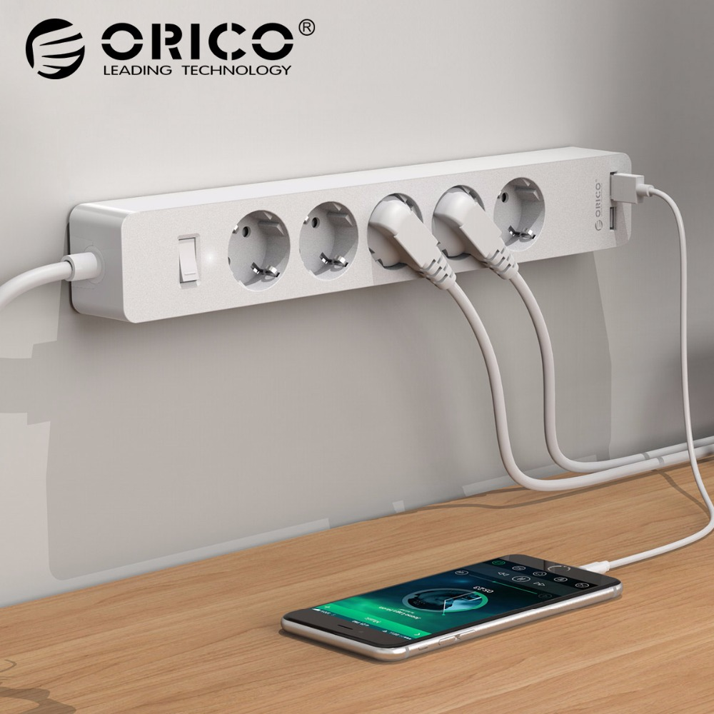 ORICO USB Power Strip Socket with 2 USB 2.4A Fast Charging Standard Extension Socket Plug Power Strip Home Electronics Adapter original xiaomi power strip smart home electronics fast charging 3 usb 2 0 interface extension socket plug with eu uk au adapter