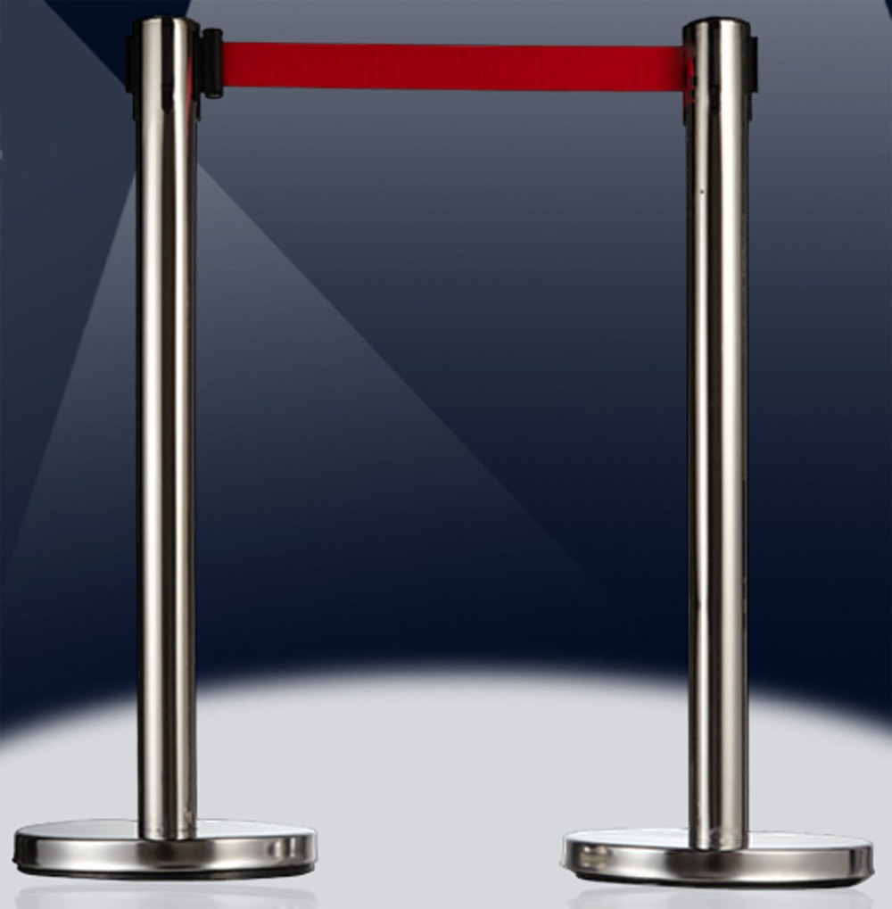 New style durable 5M telescopic belt isolation baluster holder / stainless stell railing barrier for security guard area max 5m belt lengthe wall amoutn barrier stanchions retractable betl for area separation