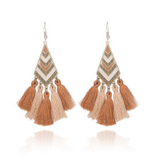 Statement Bohemian ethnic hanging tassel fringe earrings for woman 2017  vintage wedding bijoux femme boucle d'oreille