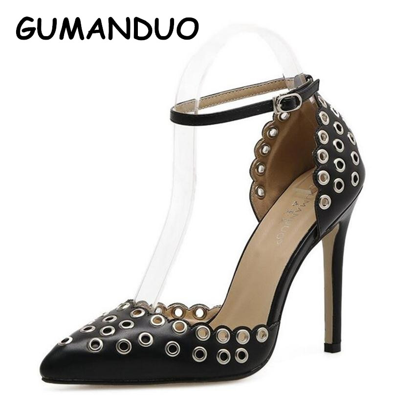GUMANDUO Women Pumps Sexy Ladies PU Pointed toe Rivets High Heels Ankle Buckle Roman Stiletto Pump Party Wedding Shoes Woman nes mixed colors serpentine sexy women high heels ankle hook loop pointed toe stiletto pumps ladies banquet party shoes woman
