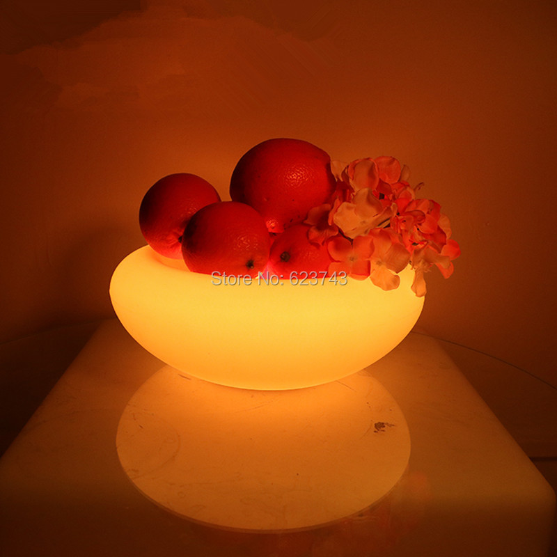 4pcs/lot Plastic Rechargeable Flashing Color Changing Led Fruit Serving Tray Remote Control Led Fruit Bowl Plate For Pub Party