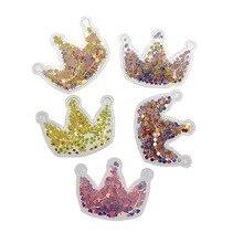 5pcs/lot 5 cm Bling Crown PVC Transparent Applique for Party/Wall/Christmas Decor Patch Scrapbooking DIY Crafts Hair Accessories