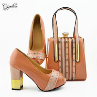 High class peach party set matching high heel sandal shoes with handbag set MD010, heel height 9.5cm