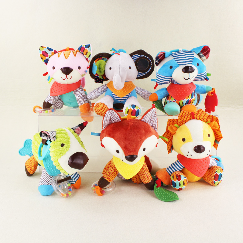15cm*23cm Cute Cartoon Baby Toy Rattles Soft Comfort Plush Toy Animals Cat/Dog/Elephant/Monkey/Raccoon Baby Toys Doll Brinquedos цена 2017