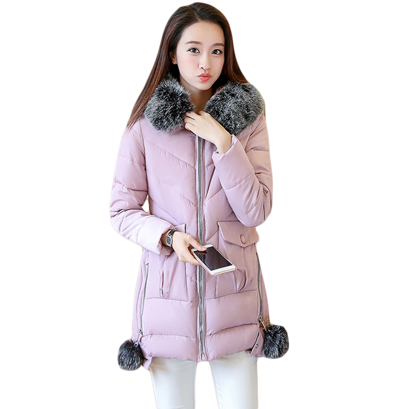 Snow Wear 2017 Autumn Winter Jacket Women Medium-long Slim Down Cotton Coat Girls Fashion Fur Hoode Thick Warm Pink Coats CM1565 2017 winter classic fashion fur hoodie coat jacket women thick warm long sleeve cotton coats student medium long loose overcoat