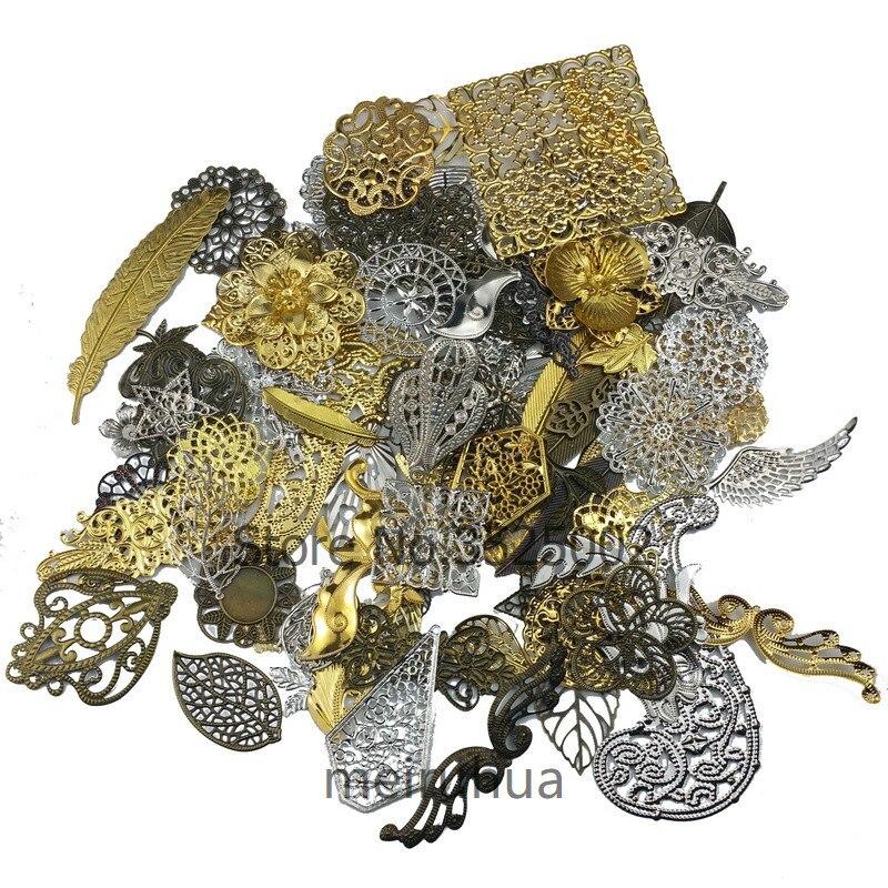 80g/lot  Mix Filigree Metal Decoration Crafts For Jewelry Making DIY Accessories Pendant Sent At Random