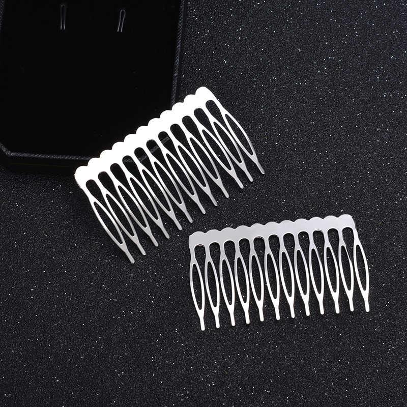 10 piezas 5/12 dientes rodio peine forma pinzas para el cabello bandeja bisel en blanco para hacer joyería DIY