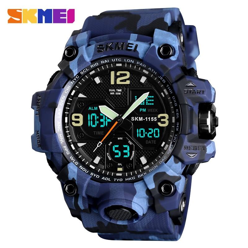 SKMEI Top Luxury Military Army Camo zegarki sportowe mężczyźni zegarek kwarcowy cyfrowy wodoodporny zegarek sportowy męski zegarek relogios masculino 1