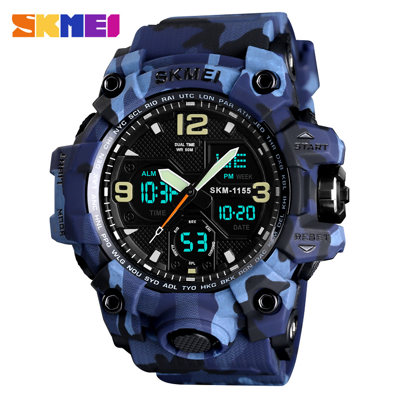 SKMEI Top de Luxo Militar Do Exército Camo Esportes Relógios Men Quartz Digital Relógio Do Esporte Masculino relogios masculino relógio de Pulso À Prova D' Água