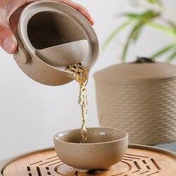 اليدوية الخام الفخار السفر طقم شاي ، تشمل 1 وعاء 1 كوب ، عالية الجودة أنيقة gaiwan ، الكونغ فو الشاي ، جميلة سهلة إبريق الشاي غلاية