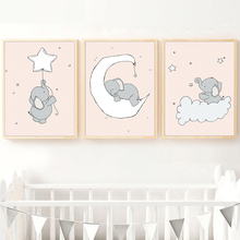 Baby Elephant Moon Star Cloud Wall Art Canvas Painting Nordic Posters And Prints Cartoon Pictures For Kids Room Decor