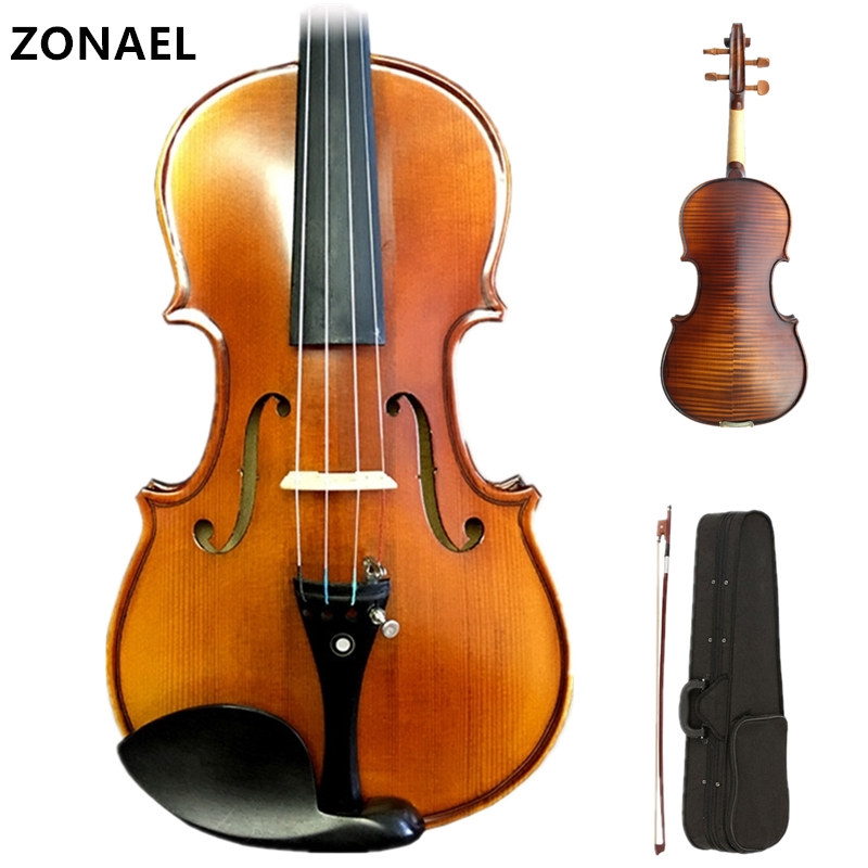 ZONAEL 80S-022 Beginner Violin 4/4 Full Size Acoustic Violin Fiddle Wood Matte Finish Spruce Face Board 4-String Instrument