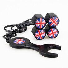 цена на 5 pcs/lot British Flag Style Stainless Steel Silver Car Wheel Airtight Tyre Tire Stem Air Valve Caps Keychain Tire Car styling