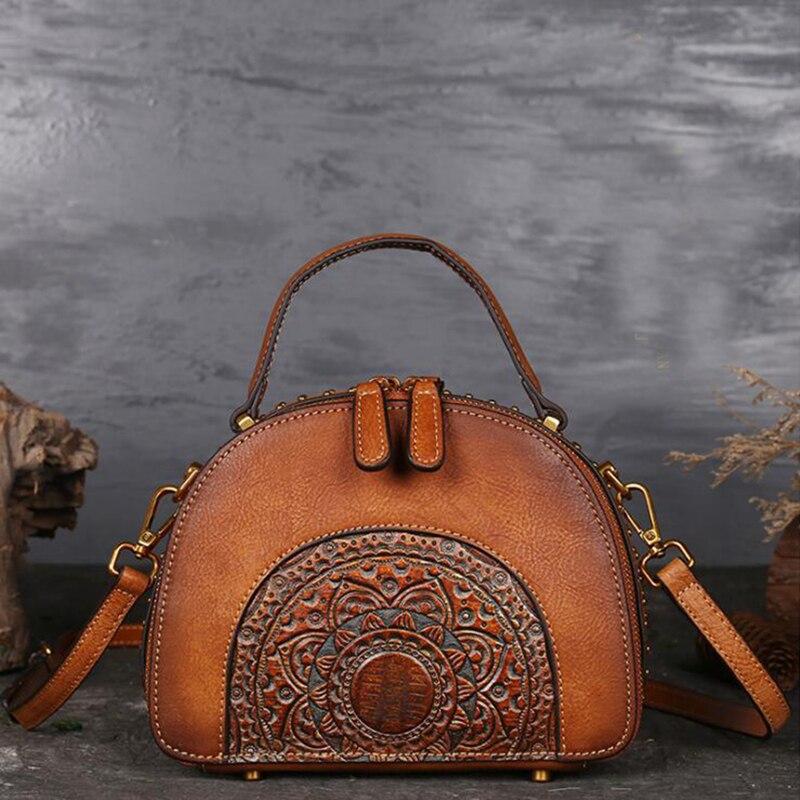 Femmes Messenger sacs à bandoulière poignée en cuir véritable en relief de luxe véritable peau de vache dames fourre-tout sac Vintage femme bandoulière sacs