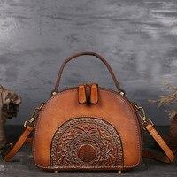 Women Messenger Shoulder Bags Handle Genuine Leather Embossed Luxury Real Cowhide Ladies Tote Bag Vintage Female Cross Body Bags
