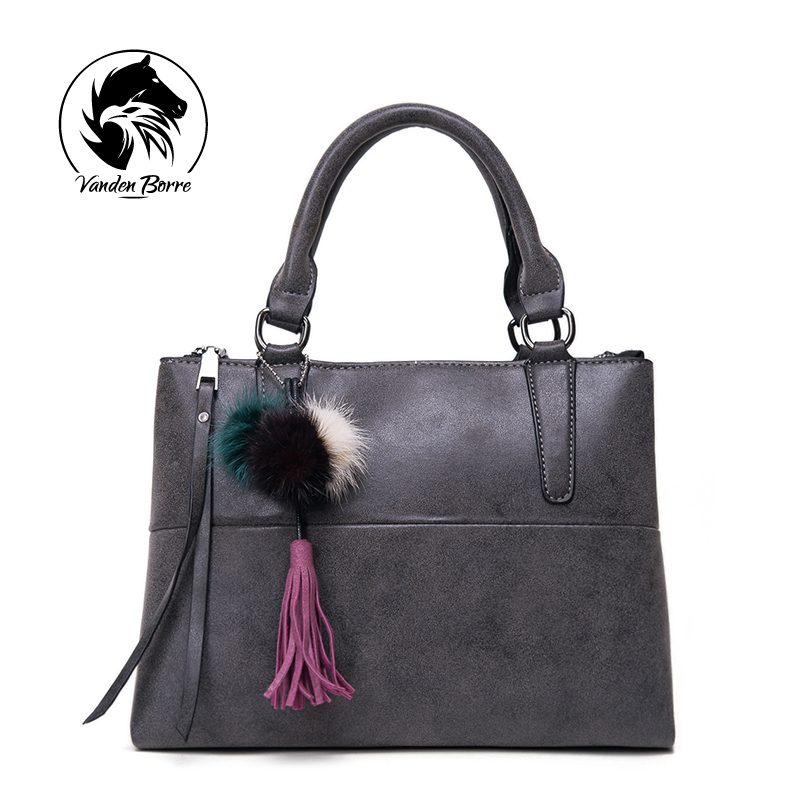 ФОТО 2016 Luxury Brand Women Shoulder Bag Soft Leather Top-Handle Bags Ladies Tassel Tote Handbag High Quality Women's Handbags