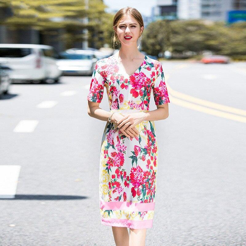 e531eaa902 D'été Zipper Mi De Courtes Décontracté Slim Mode 2019 Split V Fleurs Col  Nouveau Robe Moulante Imprimé Manches À Femme ...