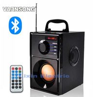 VAENSONG A10 Portable Stereo Bluetooth Speaker 2.1 Subwoofer can play TF card and USB and FM radio as well as for family travel