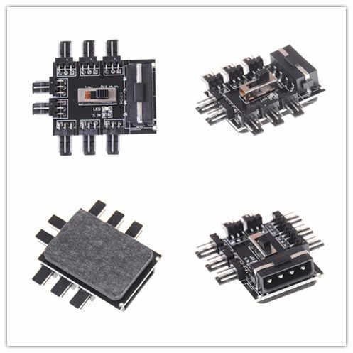 IDE Molex 1 do 8 wielokierunkowy Splitter Cooler Hub 3pin 12V gniazdo zasilania PCB Adapter 2 poziom kontroli prędkości komputer PC