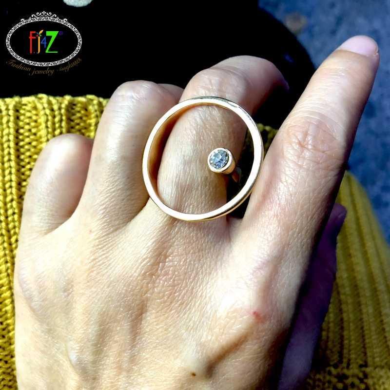 F. j4z moda projetada anel de dedo para mulher rocha grande círculo geo topo anéis de strass senhoras anéis de jóias anillos de mujeres