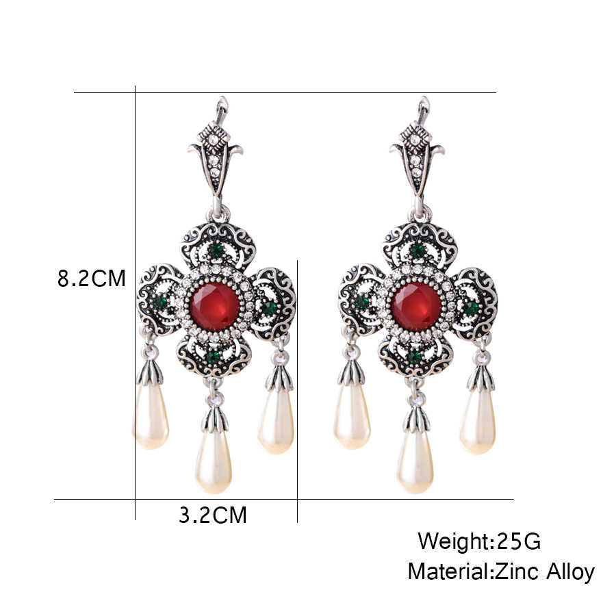 African Pearl Necklace Earrings Set Wedding Gold Bridal Jewelry Sets Turkish Silver Big Stone Pendant Earring Brincos 2018