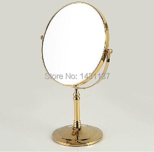 high quality sitting style gold finished total brass 1*3 times magnifying mirror double faced dreessing mirror
