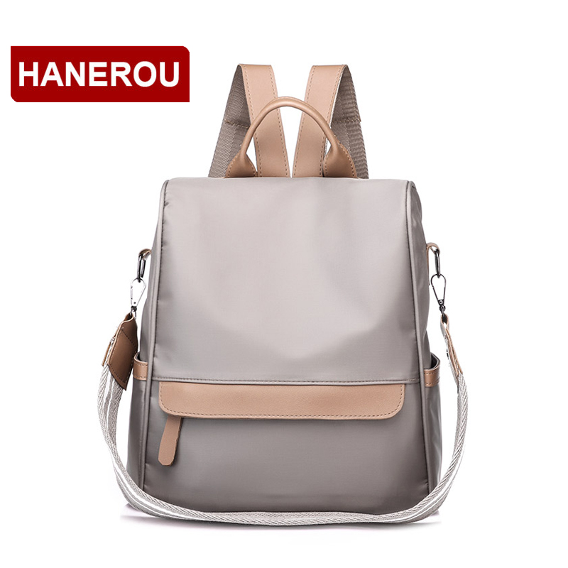Waterproof Nylon Backpack Women Wide Strap Shoulder Bag Leather Backpacks For Teenage Girls Female School Bags Backpack 2018 new 3157 fashion backpack women bag nylon waterproof school bags for teenage girls headphone plug travel daypack female shoulder bag