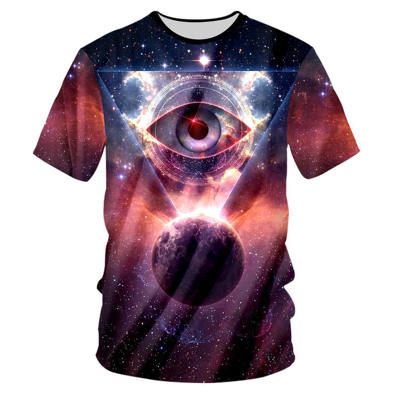 UJWI קיץ חולצות גברים חולצת טי מגניב הדפסת יקום הכוכבים חלל עיניים גיאומטריה 3D חולצות זוג מזדמן קצר שרוולים חולצה 7xl