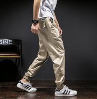 Teenage Plus Size Casual Pants Mens Trousers Men Harem Pants Solid Color Khaki Overalls Slim Black