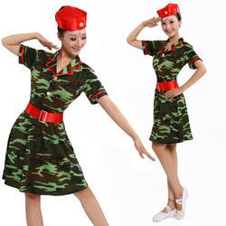 Военная Униформа камуфляжное платье темно-одежда современном этапе Танцы Костюмы для бальных танцев форма Армейский зеленый Танцы R