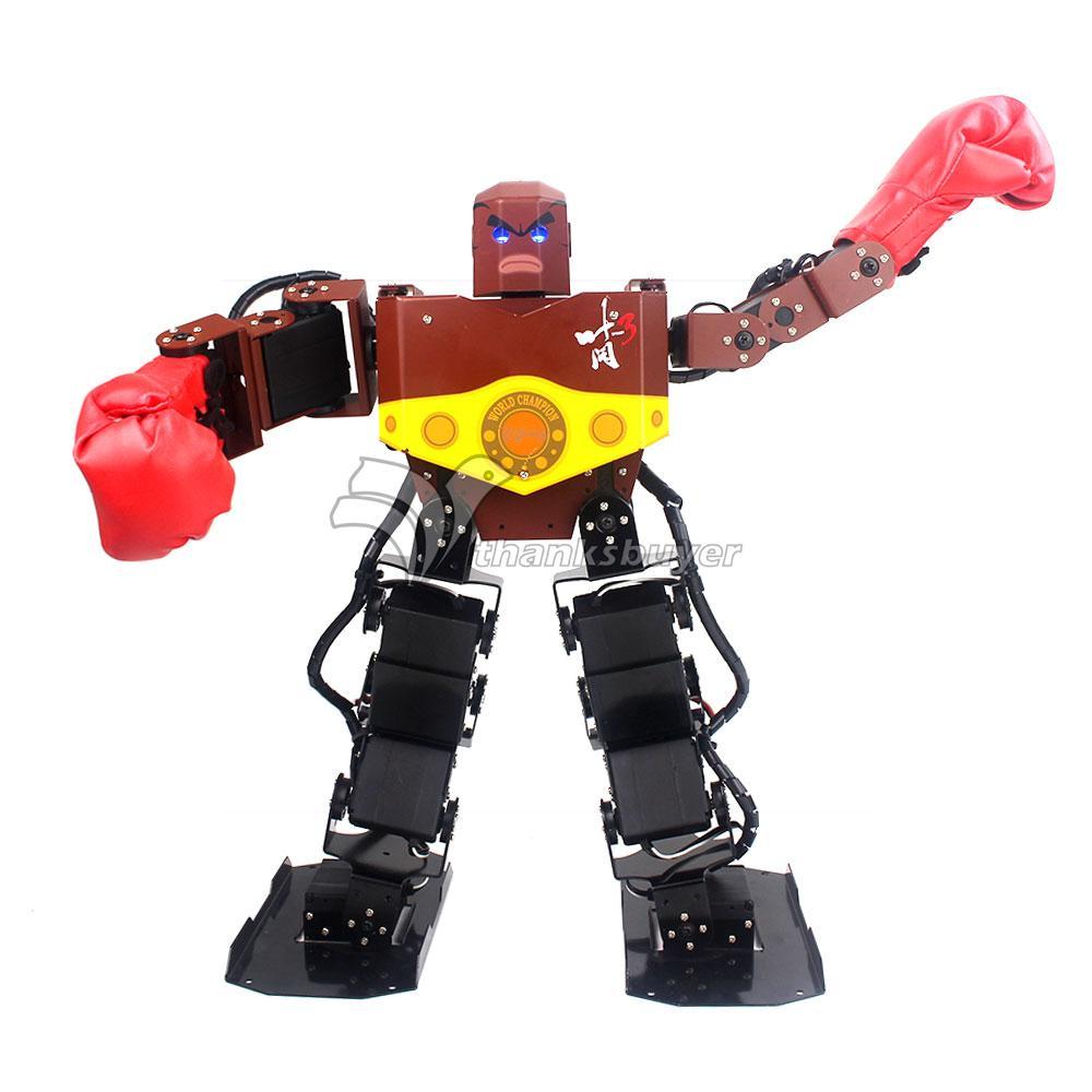 где купить Assembled Tyson 16 DOF Humanoid Robot Frame Contest Dance Robot with Servo Boxing Glove Hood дешево