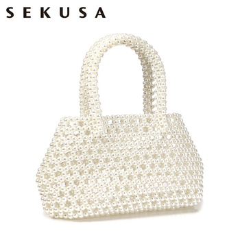 SEKUSA Beaded party clutch bags hollo fashion style laides evening bags wedding bridal holder case purse bags sekusa luxury women evening bags hollow out style diamonds metal clutch purse wedding bridal small handbags for party bags