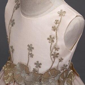 Image 3 - JaneyGao 2019 אופנה פרח ילדה שמלות למסיבת חתונה אלגנטי שמפניה שמלת טול שמלה עם רקמת תחרה אפליקציות