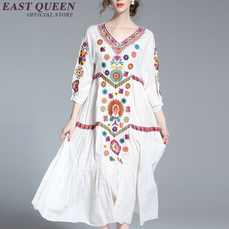Women Boho chic mexican embroidered dress hippie ethnic style dress clothing bohemian beach female dresses KK1090