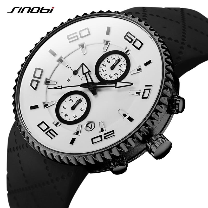 SINOBI Fashion Men's Watch Men Waterproof Quartz Watches Mens Chronograph Calendar Date Clock Men Military Sports Wristwatch