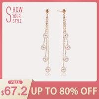 AINUOSHI Tassel Pearl Dangle Earring 18K Rose Gold Pearl Chain Earring Natural Pearl Drop Earrings Women Ear Line Girl Earring