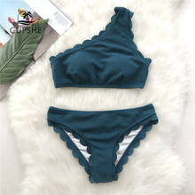 CUPSHE Solid Teal Tank Bikini Sets Women Wavy Edge One Shoulder Plain Swimwear 2020 Summer Sexy Girl Beach Slim Swimsuits